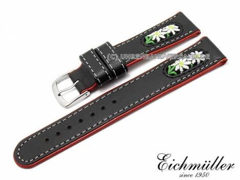 Uhrenarmband 18mm schwarz Leder/Textil Trachten-Look von EICHMÜLLER (Schließenanstoß 16 mm) - Bild vergrößern
