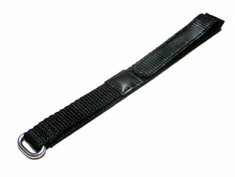 Uhrenarmband 22mm schwarz Klettverschluss - Bild vergrößern