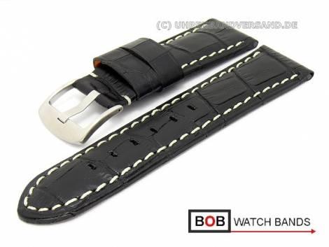 Uhrenband 24mm schwarz Alligator-Prägung helle Kontrastnaht von BOB (Schließenanstoß 22 mm) - Bild vergrößern