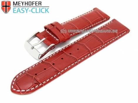 Uhrenarmband Meyhofer EASY-CLICK -Marseille- 18mm rot Alligator-Prägung weiße Naht (Schließenanstoß 18 mm) - Bild vergrößern