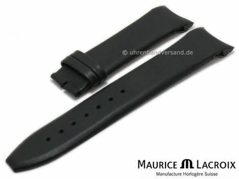 Uhrenarmband Original MAURICE LACROIX 22mm schwarz Leder matt mit Rundanstoß - Bild vergrößern