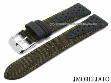 Uhrenarmband -Volley- 22mm dunkelbraun (d.oliv) Textil/Synthetik Racing-Look abgenäht MORELLATO (Schließenanstoß 18 mm) - Bild vergrößern