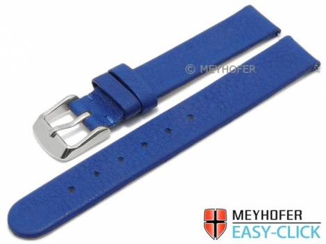 Meyhofer EASY-CLICK Uhrenarmband -Albany- 14mm mittelblau Leder vegetabil ohne Naht (Schließenanstoß 14 mm) - Bild vergrößern
