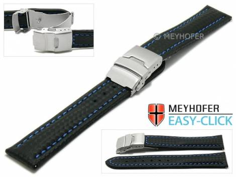 Meyhofer EASY-CLICK Uhrenarmband -Banff- 18mm schwarz Leder Karbon-Look blaue Naht Faltschließe (Schließenanstoß 18 mm) - Bild vergrößern