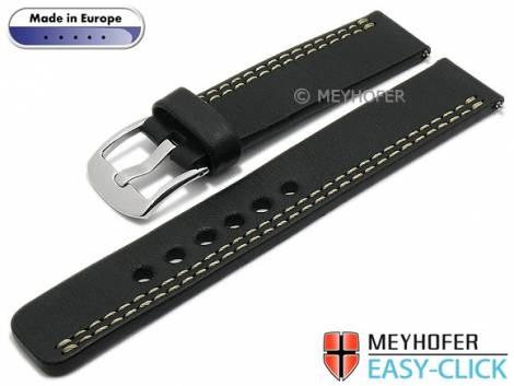 Meyhofer EASY-CLICK Uhrenarmband -Wollin- 22mm schwarz Leder helle einseitige Doppelnaht (Schließenanstoß 22 mm) - Bild vergrößern