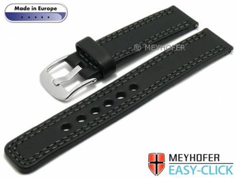 Meyhofer EASY-CLICK Uhrenarmband -Narew- 24mm schwarz Leder graue Doppelnaht (Schließenanstoß 24 mm) - Bild vergrößern