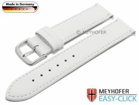 Uhrenarmband Meyhofer EASY-CLICK -Bonn- 16mm weiß Leder  abgenäht (Schließenanstoß 16 mm) - Bild vergrößern