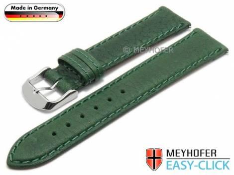 Uhrenarmband Meyhofer EASY-CLICK -Brunn- 20mm grün Leder grob genarbt abgenäht (Schließenanstoß 18 mm) - Bild vergrößern