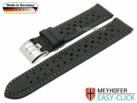 Uhrenarmband Meyhofer EASY-CLICK -Freising- 20mm schwarz Leder Racing-Design abgenäht (Schließenanstoß 20 mm) - Bild vergrößern