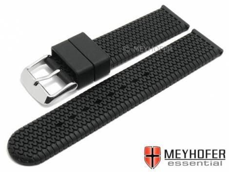 Uhrenarmband -Weimar- 18mm schwarz Silikon mit Reifenmuster von MEYHOFER (Schließenanstoß 18 mm) - Bild vergrößern