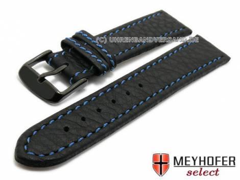 Uhrenarmband -Tebessa- 20mm schwarz Leder blaue Naht Schließe schwarz von Meyhofer (Schließenanstoß 18 mm) - Bild vergrößern