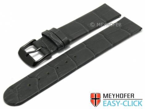 Meyhofer EASY-CLICK Uhrenarmband -Skeena- 22mm dunkelgrau Leder Alligator-Prägung ohne Naht (Schließenanstoß 22 mm) - Bild vergrößern