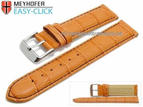 Uhrenarmband Meyhofer EASY-CLICK -Marseille Special- 22mm orange Alligator-Prägung schwarze Naht (Schließenanstoß 20 mm) - Bild vergrößern