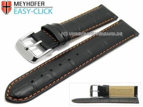 Uhrenarmband Meyhofer EASY-CLICK -Marseille Special- 20mm schwarz Alligator-Prägung orange Naht (Schließenanstoß 20 mm) - Bild vergrößern