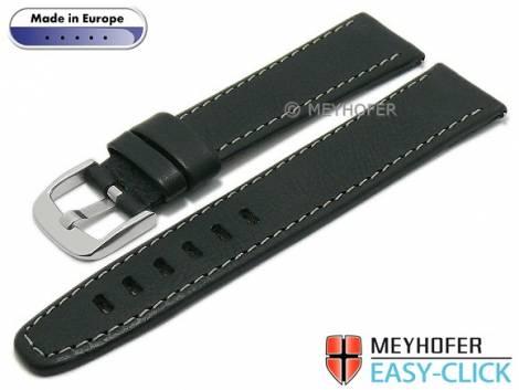 Meyhofer EASY-CLICK Uhrenarmband -Reka- 18mm schwarz Leder genarbt helle Naht (Schließenanstoß 18 mm) - Bild vergrößern