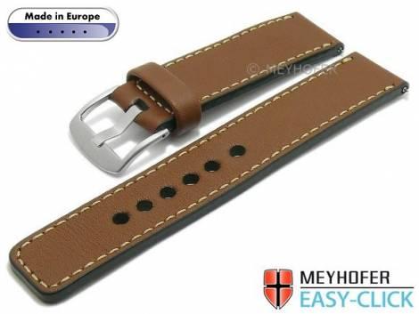 Meyhofer EASY-CLICK Uhrenarmband -Burgau- 20mm braun Leder glatt helle Naht (Schließenanstoß 20 mm) - Bild vergrößern