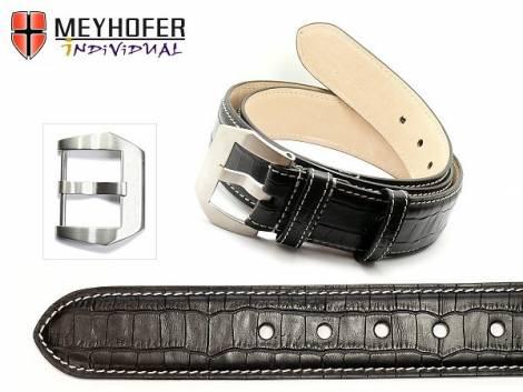 Ledergürtel -Pretoria BLT- schwarz Alligator-Prägung helle Naht für Bundlänge 110cm (L) von MEYHOFER - Bild vergrößern