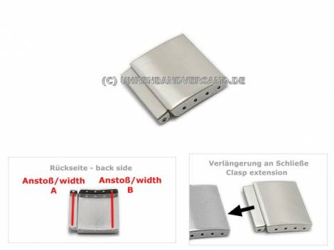 Universal-Verlängerungsstück Edelstahl 20mm für Metallband-Faltschließen - Bild vergrößern