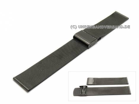 Uhrenarmband 18mm anthrazit/schwarz Milanaise feines Geflecht - Bild vergrößern