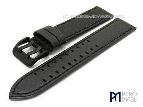 Uhrenarmband -Carbon Fiber BB- 18mm schwarz echt Leder im Carbon-Look Schließe schwarz Piero Magli - Bild vergrößern