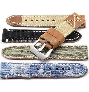 Rustikale Uhrenarmbänder im Vintage-Look aus Leder/Textil in diversen Ausführungen aus der Rock!t Kollektion - Produktbild