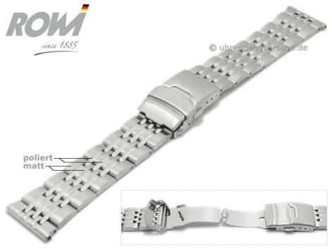 Uhrenarmband 22mm Edelstahl massiv teilweise poliert mit Sicherheitsfaltschließe von ROWI - Bild vergrößern