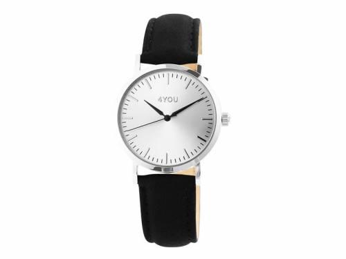 Armbanduhr Edelstahl Ziffernblatt silberfarben Uhrenband schwarz von 4YOU (*YO*AU*) - Bild vergrößern