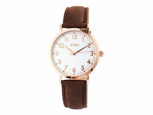 Armbanduhr Edelstahl roségoldfarben Ziffernblatt weiß Uhrenband dunkelbraun von 4YOU (*YO*AU*) - Bild vergrößern