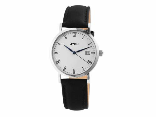 Armbanduhr Edelstahl Ziffernblatt weiß Uhrenband schwarz von 4YOU (*YO*AU*) - Bild vergrößern
