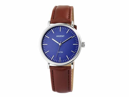 Armbanduhr klassisch Metall silberfarben Ziffernblatt blau (*SH*AU*) - Bild vergrößern