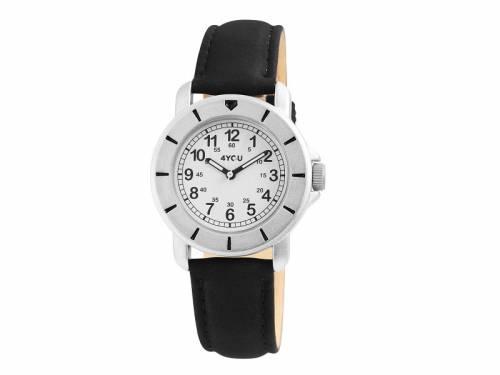 Armbanduhr Metall silberfarben Ziffernblatt weiß Lederband schwarz von 4YOU (*YO*AU*) - Bild vergrößern
