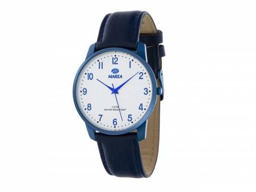 Armbanduhr klassisch Metall blau Ziffernblatt weiß von Marea (*MR*AU*) - Bild vergrößern