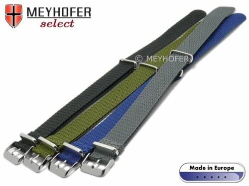 Uhrenarmband-Set 4-teilig -Prattville- 20mm schwarz/mblau/olivgrün/grau Perlon/Textil NATO-Look Durchzugsband MEYHOFER - Bild vergrößern