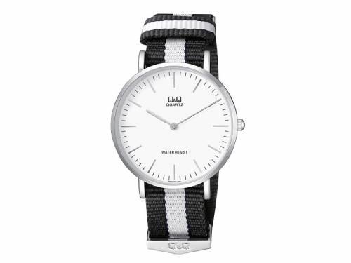 Armbanduhr Metall silberfarben Ziffernblatt weiß von Q&Q (*QQ*AU*) - Bild vergrößern
