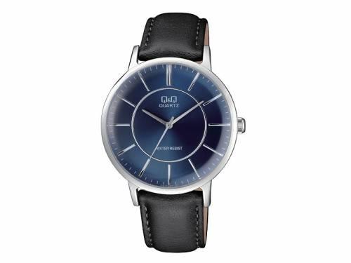 Armbanduhr Metall silberfarben Ziffernblatt dunkelblau von Q&Q (*QQ*AU*) - Bild vergrößern