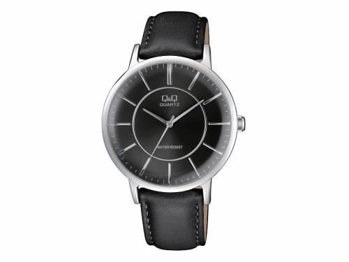 Armbanduhr Metall silberfarben Ziffernblatt schwarz von Q&Q (*QQ*AU*) - Bild vergrößern