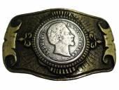 Gürtelschließe Metall bicolor Ludwig II passend für Gürtelbreite 40 mm