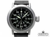 Automatik-Armbanduhr B-Uhr Edelstahl silberfarben Ziffernblatt schwarz Lederband Made in Germany von ARISTO (*AV*HU*)