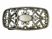 Gürtelschließe Metall altsilberfarben Ornament passend für Gürtelbreite 40 mm