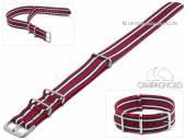 Uhrenarmband 24mm rot Synthetik/Textil NATO-Style blaue weiße Streifen Durchzugsband von CAMPAGNOLO