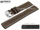 Uhrenarmband Tiger 24mm dunkelbraun Leder/Kautschuk Racing-Look helle Naht von HIRSCH (Schließenanstoß 22 mm)