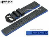 Uhrenarmband Ayrton 22mm schwarz Leder/Kautschuk Carbon-Optik blaue Seitenkanten von HIRSCH (Schließenanstoß 20 mm)
