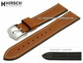 Uhrenarmband James 18mm mittelbraun Leder/Kautschuk glatt matt Naht hellbraun von HIRSCH (Schließenanstoß 16 mm)