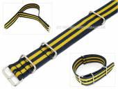 Uhrenarmband 24mm dunkelblau-gelb NATO-Style Durchzugsband