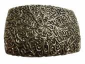 Gürtelschließe Metall altsilberfarben Blumengitter-Motiv passend für Gürtelbreite 40 mm