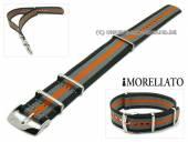 Uhrenarmband Cannete 20mm schwarz-grau-orange Textil-Durchzugsband MORELLATO (Schließenanstoß 20 mm)