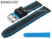 Uhrenarmband Tarim 24mm schwarz/hellblau Silikon mit Struktur Streifen hellblau von MORELLATO (Schließenanstoß 22 mm)