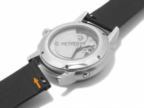 Meyhofer EASY-CLICK Uhrenarmband -Nagano- 22mm schwarz Leder glatt Schließe schwarz (Schließenanstoß 22 mm) - Bild vergrößern