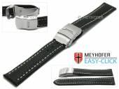 Meyhofer EASY-CLICK Uhrenarmband Banff 24mm schwarz Leder Karbon-Look helle Naht Faltschließe (Schließenanstoß 22 mm)