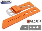 Uhrenarmband Baracoa 24mm orange Kautschuk Racing-Look von MEYHOFER (Schließenanstoß 22 mm)